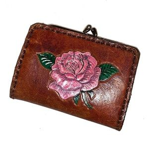 Vintage Leather Floral Tooled Wallet Coin Purse